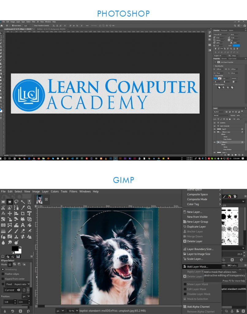 Graphics Design Tools- photoshop and gimp