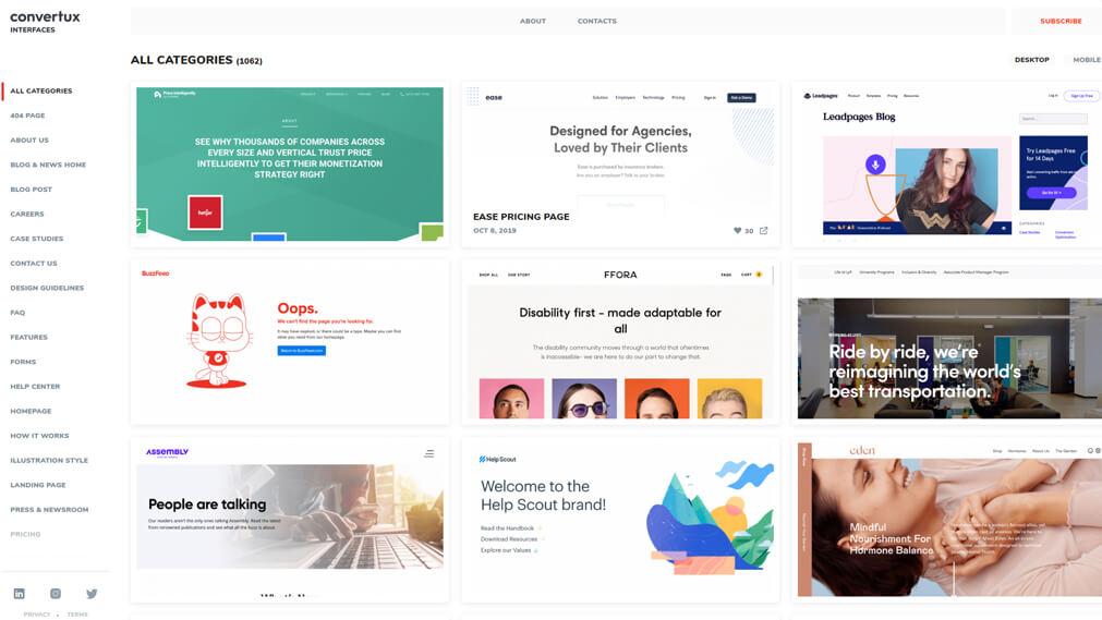 screenshot of interfaces.convertus.com