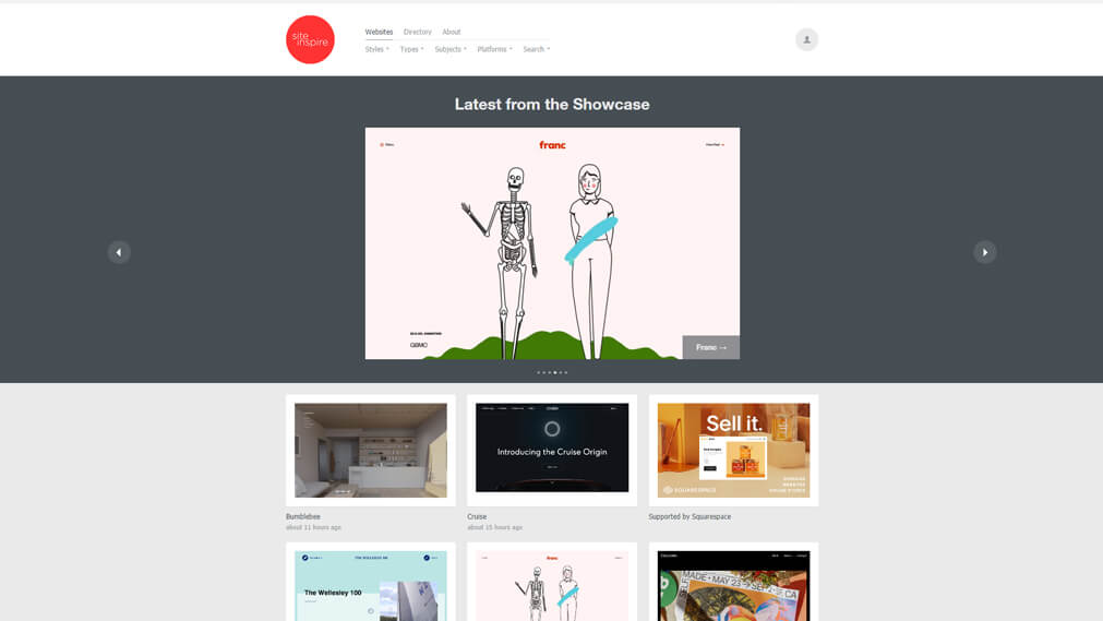 siteinspire screenshot