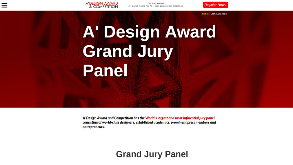 A Design Award Screenshot