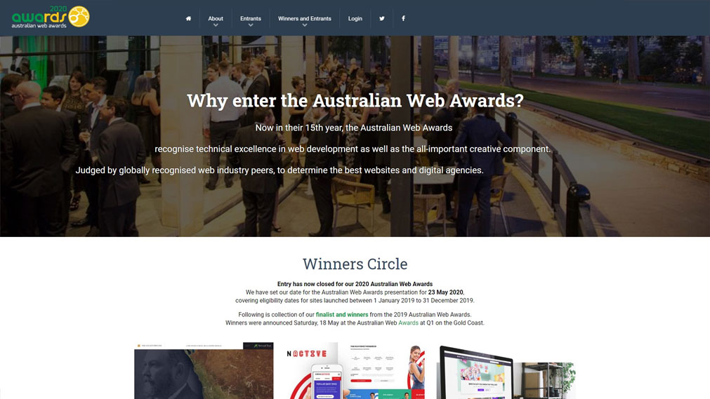 Australian Web Awards Screenshot